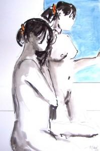 Encre et aquarelle / 50 x 70