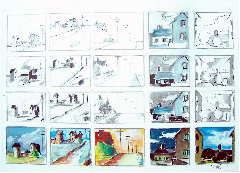 Mines de plomb et aquarelle / 70 x 50