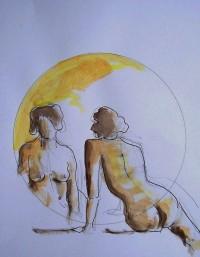 Nus / Aquarelle et encre / 30 x 45