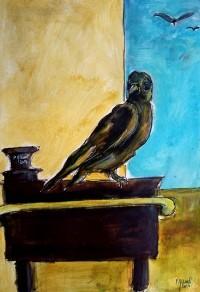 L'oiseau sur son pupitre / Aquarelle / 50 x 70