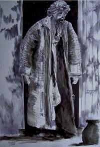 Le mendiant / Encre / 50 x 70