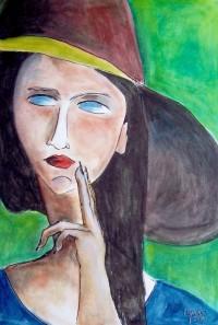A la façon de Modigliani: Portrait / Aquarelle / 50 x 70