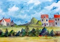 Bout du village / Aquarelle / 70 x 50