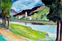 Au bord de la rivière / Aquarelle / 70 x 50