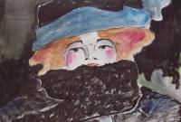 Femme rousse à l'écharpe / Encre et aquarelle / 45 x 30