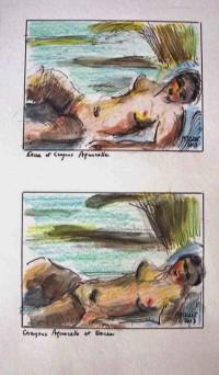 Etudes / Encre, crayons, aquarelle / 30 x 45