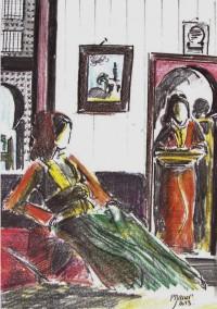 Harem / Mines de plomb et crayons de couleurs / 30 x 45