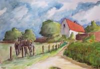 L'entrée du village / Aquarelle / 70 x 50