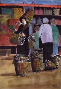 Le marchand de paniers / Aquarelle / 50 x 70