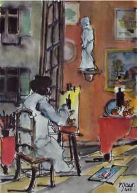 Le peintre en action / Aquarelle / 30 x 45