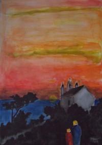 Coucher de soleil / Aquarelle / 50 x 70