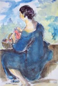 Jeune femme au panier / Aquarelle / 50 x 70