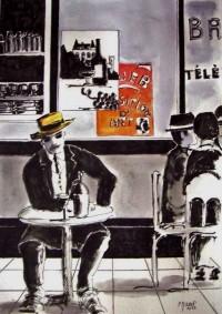 Au bistrot / Encre et aquarelle / 50 x 70