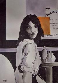 L'attente au café / Encre et aquarelle / 50 x 70