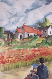 Le peintre des champs / Aquarelle / 50 x 70