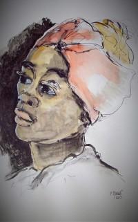 Portrait / Aquarelle et encre  / 50 x 70