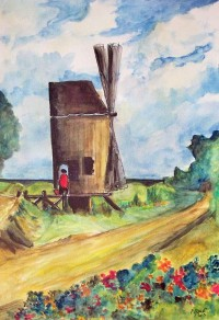 Le moulin / Aquarelle / 50 x 70