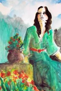 Jeune femme en robe verte / Aquarelle / 50 x 70