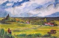 Paysage rural / Aquarelle / 70 x 50