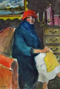 Femme au manteau / Aquarelle / 50 x 70