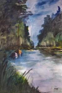 Le calme de la rivière / Aquarelle / 50 x 70