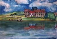 La résidence du lac / Aquarelle / 70 x 50