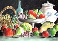 Nature morte aux fruits / Aquarelle / 70 x 50