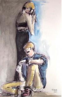 Bouderie / Encre et aquarelle / 50 x 70