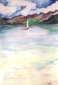 Sur le fleuve / Aquarelle / 50 x 70
