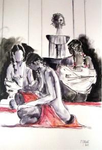 Femmes au bain / Encre et aquarelle / 50 x 70