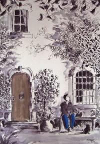 Devant le manoir / Encre et aquarelle / 50 x 70