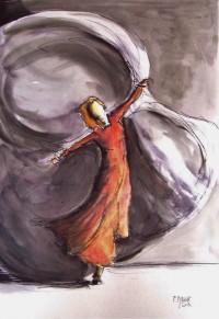 Danse comme le vent / Encre et aquarelle / 50 x 70