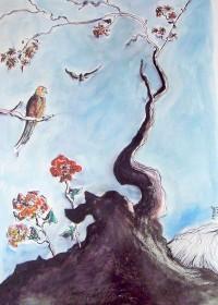 L'arbre aux péruches / Encre et aquarelle / 50 x 70