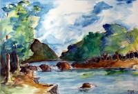 Cascade / Aquarelle / 70 x 50