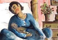 Maternité endormie / Aquarelle / 70 x 50