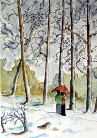 Promenade hivernale / Aquarelle et encre / 50 x  70