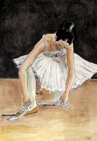 Le chausson / Aquarelle et encre / 50 x 70