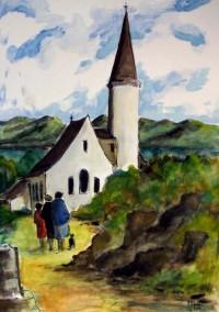 L'église / Aquarelle / 50 x 70