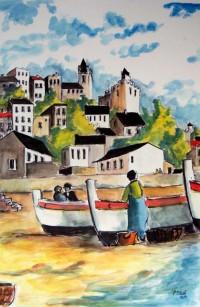 Les barques sur la plage / Aquarelle / 50 x 70