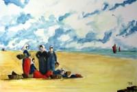 Attente du retour des pécheurs / Aquarelle / 70 x 50