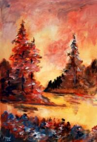 Effet de forêt / Acrylique / 50 x 70