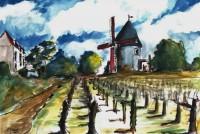 Le moulin des vignes / Aquarelle / 70 x 50