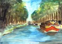 Sur le canal / Aquarelle / 70 x 50
