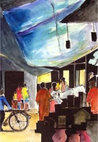 Marcher indien / Aquarelle / 50 x 70