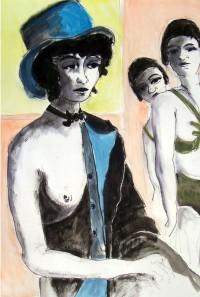 En coulisse / Encre et aquarelle / 50 x 70