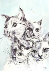 Assemblée de chats / Encre / 50 x 70