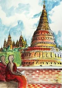 La pagode / Aquarelle et encre / 50 x 70