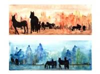 Etudes chevalines chaudes et froides / Aquarelle et encre / 70 x 50
