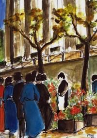 Marcher au fleurs / Aquarelle / 50 x 70