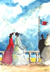 Promenade maritime / Aquarelle / 50 x 70